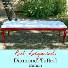 Home Coming: Guest Post: Red Lacquered, Diamond-Tufted Bench DIY