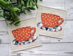 Cup Coasters, Fabric Coasters, Coaster Set, Housewarming Gift, Drink Coasters, Modern Decor, Gift Idea, Birthday Gift, Gift For Him by TheCornishCoasterCo on Etsy