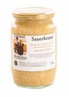 Raw, unpasteurized, live, cultured sauerkraut featured here is the good old plain sauerkraut and includes cabbage and himalayan salt.