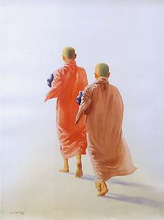 Two Novice Monks by Min Wae Aung - watercolor on paper