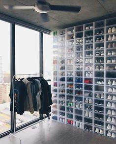 Schuhaufbewarung Suitable over the door shoe storage ideas only on this page Buying a Watch? Shoe Room, Shoe Wall, Sneaker Storage, Sneaker Rack, Hypebeast Room, Closet Shoe Storage, Shoe Display, Shoe Organizer, Diy Interior