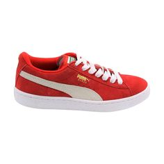 Puma - Boy's Suede Jr Classic Low Top Sneaker (Big Kid) - High Risk Red/White