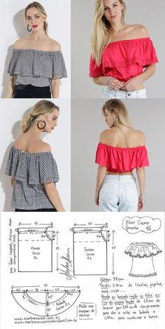 Blusa cigana – DIY – molde, corte e costura – Marlene Mukai. Esquema de modelagem de blusa cigana do 36 ao 56.