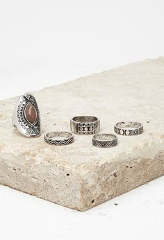 Etched Faux Stone Ring Set | via Forever 21 | #f21accessorize | #lyoness