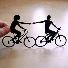 Papercutsbyjoe    First Anniversary Cut Paper  - Two Women Couple on Bikes- 8x10. $70.00, via Etsy.