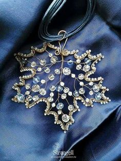 Wire and beadwork maple leaf ornament