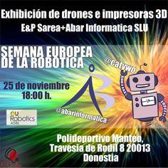 E&P Sarea: 25/11/2014 Exhibición de drones e Impresoras 3D en Donostia #erw14 #epsarea Drones, Comic Books, 3d, Comics, Cover, Printers, Learning, Events, Comic Strips
