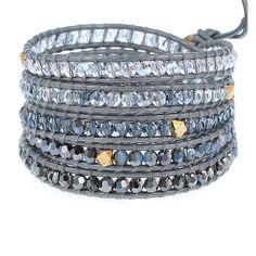Blue Mix Crystal Wrap Bracelet on Grey Leather - Chan Luu