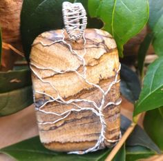 Handmade wrapped tree pendant Picture Jasper and by andreadawn1