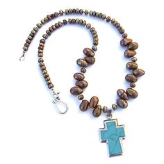 Turquoise Sterling Cross Handmade Necklace Copper Pearls OOAK Jewelry | ShadowDogDesigns - Jewelry on ArtFire