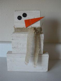 "Dandelions and Dust Bunnies...scrap wood ""snowman"""