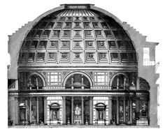 An architectural cross-section of the Pantheon, Rome.