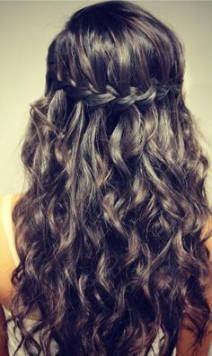 Crown braid w/ wavy hair.