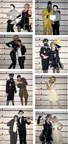 Halloween costumes and a DIY mug shot photo backdrop
