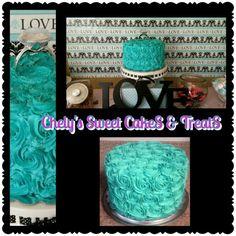 Teal blue cake