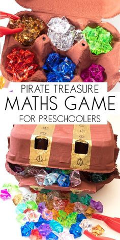 Create your own Pirate Maths Game for counting and sorting ideal for preschoolers. Make a treasure chest and the sort and count the pirate's treasure. via @rainydaymum