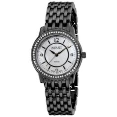 The sophisticated design of this diamond August Steiner watch is the perfect accessory to go with any woman's outfit. The elegant watch features a round mother-of-pearl dial surrounded by crystals that sits on a black metal bracelet.
