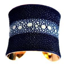 Stingray Gold Lined Cuff Bracelet in Navy Blue Multiple Spine