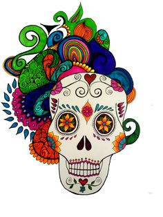 Calavera con zentangle Mexican Art by Cynthia Cabello