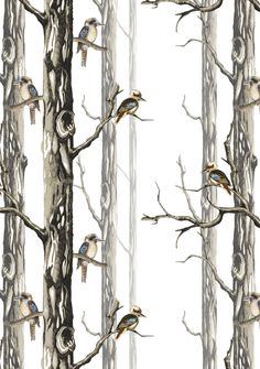 Birds in the Woods Wallpaper - Funky Wombat Textiles Wood Wallpaper, Pattern Wallpaper, Commercial Interiors, Repeating Patterns, Surface Pattern, Bird Feathers, Textile Design, Woods, How To Draw Hands