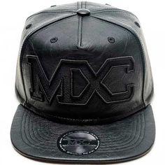98bec37f91991 Boné Americano em couro sintético, modelo Snapback marca MXC original,  preto, aba 8