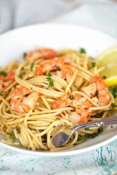 Easy Shrimp Scampi Recipe {Ready in 10 Mins} - Spend With Pennies Swimming in a garlicky white wine sauce, this Easy Shrimp Scampi Recipe is on the table in just 10 minutes! A super quick meal perfect for busy weeknights. Shrimp Recipes Easy, Salmon Recipes, Easy Dinner Recipes, Seafood Recipes, Pasta Recipes, Cooking Recipes, Dinner Ideas, Simple Recipes, Meal Recipes