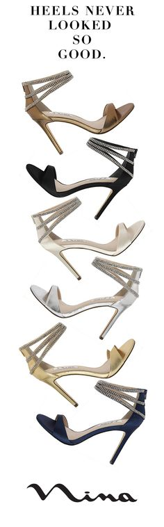 Glimmering crystal heels with a soft cushion inner. I'd say I just found my new favorite shoes! | Nina Shoes Catessa | Shop it: http://ninashoes.com/catessa-ivory-crystal-satin--19156?c=277&utm_source=Pinterest&utm_medium=Social%20Media%20Campaign&utm_campaign=Catessa