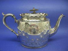 Antique Victorian Silver Silverplate Teapot Hallmarked Ebony Knob Hand Engraved