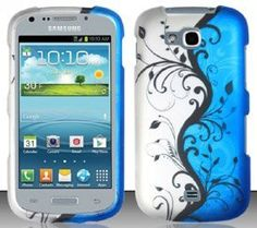 Samsung Galaxy Axiom R830 (US Cellular) Blue/Silver Vines Design Snap On Hard Case Protector Cover + Free Neck Strap + Free American Flag Pin by Shoparound168, http://www.amazon.com/dp/9866798569/ref=cm_sw_r_pi_dp_ditjrb1Y54F6R