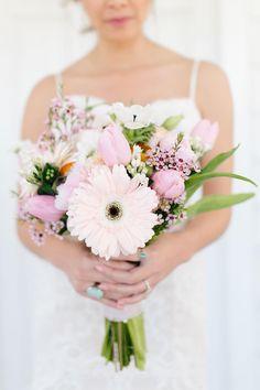 Pink tulips, gerbera daisy, waxflowers, spring bouquet // Noni Elizabeth Photo