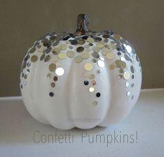 confetti on Pumpkins!! Cute DIY fall decor!