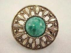 Vtg 1950s Etruscan Rev Grn Speckled Cab Gold Tone Stretch Scarf Holder Clip Ring