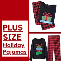 Holiday pajamas for women from size XS to plus size 3X. Discover more plus size women's sleepwear at my online store. Shop early for Christmas sleepwear, pjs, and loungewear. #holidaypajamas #plussizepajamas #holidaypjs #plussize #plussizewomens #clothing
