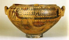 Late Geometric Krater with possibly a scene of Paris abducting Helen, c. 730 BCE.