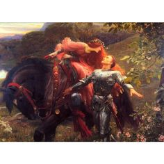Art Renewal Center :: Frank Dicksee :: La Belle Dame Sans Merci ❤ liked on Polyvore featuring home, home decor, wall art, paintings, people, art, pictures and paul frank