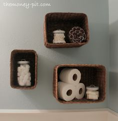 Great idea to add space to any room. Bedroom? Socks, underwear. Living room? DVDs, books. Try using the tops of the baskets for candles, as long as it's flat it should work, I like to lay down a piece of glass under the candle first.