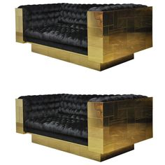 Paul Evans Brass Cityscape Sofas | From a unique collection of antique and modern sofas at https://www.1stdibs.com/furniture/seating/sofas/