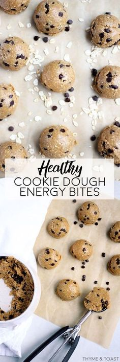 Healthy Cookie Dough Energy Bites   thymeandtoast.com