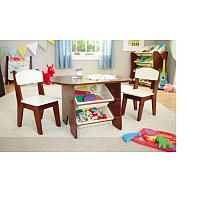 Imaginarium Table and 2 Chair Set - Espresso, Playroom, Children's Furniture, Nursery Decor