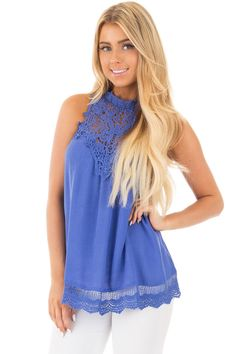 Lime Lush Boutique - Royal Blue Halter Tank with Crochet Contrast and Details, $38.99 (https://www.limelush.com/royal-blue-halter-tank-with-crochet-contrast-and-details/)