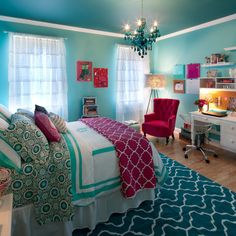 Teenager Room Bedroom Design Ideas, Remodels & Photos with Blue Walls