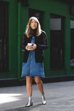 Bring an outfit to life with a touch of metallic. Pair silver boots with a denim pinafore for a modern take on 90's fashion.