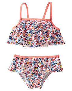 Crazy 8 Toddler Girls' Ditsy Bikini Ditsy Print Ruffle Bikini, Multi, 12-18 Months