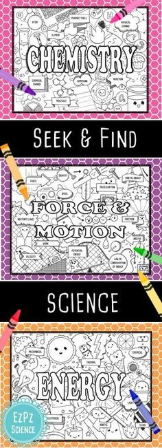 Chemistry Force & Motion and Energy Seek & Find Science is perfect for introducing or reinforcing unit material. I love them for notebook title pages! Great for pre-assessment group collaboration and reinforcement. Science Worksheets, Science Lessons, Science Activities, Science Experiments, Science Ideas, Health Lessons, Science Classroom, Teaching Science, Science Cells