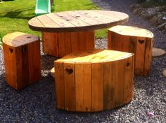 Table and chairs made from cable end reels and pallet's.