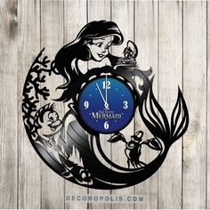 Ariel wall clock Little Mermaid decal and clock Disney