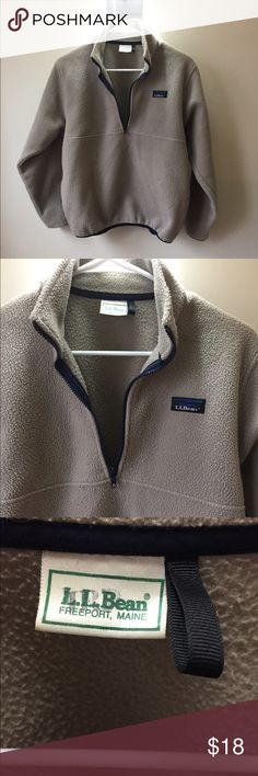 L. L. Bean Vintage Pullover Half zip fleece jacket with two front pockets. Tan and blue. This has wear to it. Some piling and a burn in the sleeve it's not a hole just the fleece got burned a little. Size small. L.L. Bean Jackets & Coats
