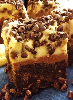 #GlutenFree Chocolate Chip Cookie Dough Brownies - Pin now, make asap!