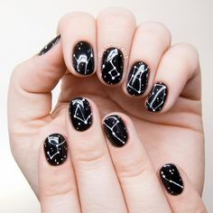 Zodiac stars nailart - could also use a black glitter base for a starry effect #nails