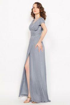 Hall Spring Elegant & Luxurious Floor Length Winter Front Slit Misses V-Neck Mid Back Evening Dress